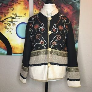 Coldwater Creek Sz Small Floral Embroidered Jacket